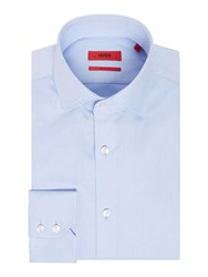 Hugo Men's Gordon Tonal Chevron Cotton Shirt Blue