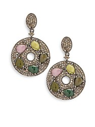 Bavna Tourmaline And Sterling Silver Drop Earrings No Color
