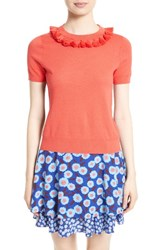Kate Spade Women's New York Tassel Neck Cotton And Cashmere Sweater Paprika