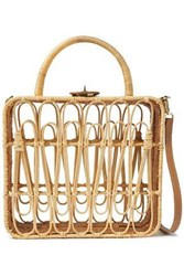 Kayu Woman Safia Leather Trimmed Rattan Shoulder Bag Neutral