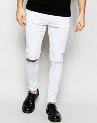 Asos Super Skinny Jeans In White With Knee Rips White