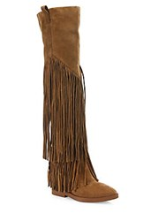 Ash Gipsy Tall Fringed Suede Boots Russet
