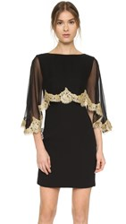 Reem Acra Lace Edge Capelet Dress Black Gold