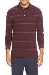 French Connection 'Brunswick' Stripe Long Sleeve Polo Bordeaux
