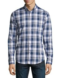 Penguin Plaid Button Front Sport Shirt Dark Blue