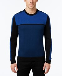 Alfani Men's Big And Tall Colorblocked Sweater Only At Macy's Timeless Navy