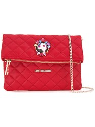 Love Moschino Studded Pin Shoulder Bag Red