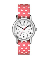 Timex Ladies Weekender Silvertone And Fabric Strap Watch Coral