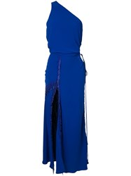 Christopher Esber Fringed Side Slit Evening Dress Blue