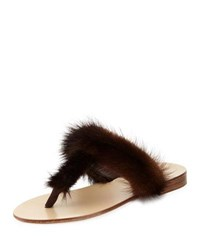 Jenni Kayne T Strap Fur Flat Slide Sandal Dark Brown