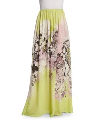 Roberto Cavalli Kimono Floral Print Long Skirt Yellow Pink Women's