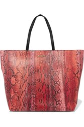 Just Cavalli Snake Effect Faux Leather Tote Red