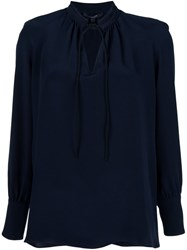 Derek Lam Drawstring Neck Detail Blouse Blue