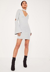 Missguided Grey Choker Neck Flared Sleeve Bodycon Dress