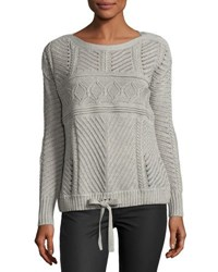 Marled By Reunited Tie Front Stitch Knit Sweater Gray