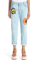 Women's Stella Mccartney 'Tomboy' Floral Embroidered Jeans Sun Faded Blue