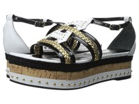 Just Cavalli Calf And Patent Leather With Rope And Cork Off White Women's Sandals