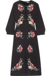 Vilshenko Holly Floral Print Silk Crepe De Chine Midi Dress Black