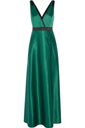 Raoul Delphine Embellished Wrap Effect Satin Gown Forest Green