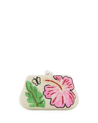 Rafe Rosie Small Straw Clutch Bag With Hibiscus And Butterfly Multi