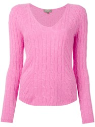 N.Peal Diagonal Cable V Neck Jumper Pink Purple