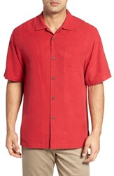 Tommy Bahama Men's Big And Tall 'Rio Fronds' Short Sleeve Silk Sport Shirt Lehua Red