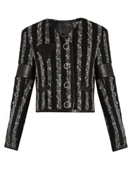 Alexander Wang Leather Trimmed Striped Tweed Cropped Jacket Black Grey