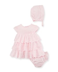 Mayoral Multi Lace Ruffle Dress W Bloomers And Bonnet Pink