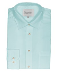 Double Two Men's Plain Non Iron Micro Twill Shirt Duck Egg
