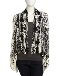 Neiman Marcus Snake Print Open Front Knit Cardigan Xl