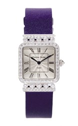 Charles Oudin 18K White Gold Rose Retro Watch Silver