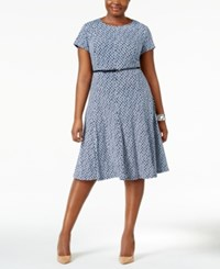 Jessica Howard Plus Size Printed Fit And Flare Dress Navy Blue
