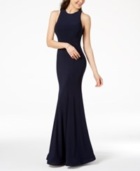 B. Darlin B Juniors' Illusion Strappy Back Gown Navy