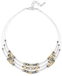 Nine West Tri Tone Beaded Layer Collar Necklace Multi