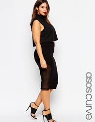 Asos Curve Pencil Skirt With Sheer Panel Black