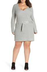 Leith Plus Size Belted Sweater Dress Grey Medium Heather