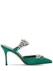 Manolo Blahnik 90Mm Lurum Swarovski Satin Mules Green