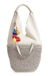 Vince Camuto Hedda Convertible Straw Tote Metallic Silver Snow White