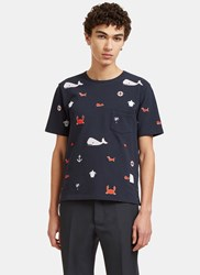 Thom Browne Embroidered Sea Motif Crew Neck T Shirt Navy