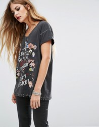 Religion Oversized T Shirt With Print And Embellishment Details Washed Black