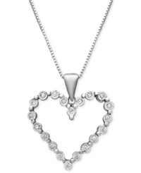 Macy's Sterling Silver Heart Pendant Diamond Accent