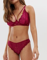 Wolf And Whistle Lace Detail Knicker In Burgundy Purple