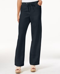 Jm Collection Linen Blend Wide Leg Pants Only At Macy's Intrepid Blue