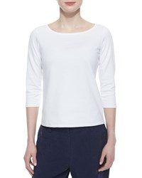Eileen Fisher 3 4 Sleeve Cotton Tee Black