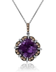 Le Vian 0.32Tcw Diamonds Amethyst And 14K White Gold Chocolatier Pendant Necklace