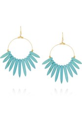Kenneth Jay Lane Gold Plated Resin Earrings Turquoise