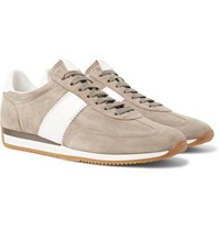Tom Ford Orford Leather Trimmed Suede Sneakers Beige