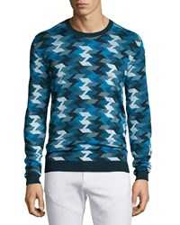 Versace Geometric Print Stitched Crewneck Sweater Blue