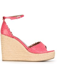 Tabitha Simmons Harp Wedge Sandals Pink And Purple