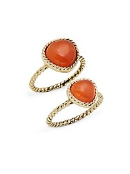 Saks Fifth Avenue Semi Precious Stone Rings Set Of 2 Coral